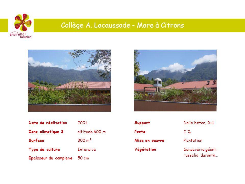 Date de réalisation2001 Zone climatique 3altitude 600 m Surface300 m² Type de cultureIntensive Epaisseur du complexe50 cm SupportDalle béton, R+1 Pent