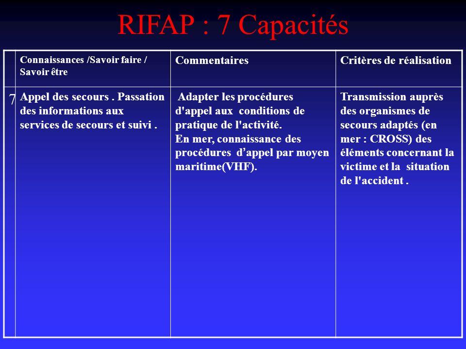 RIFAP : 7 Capacités Connaissances /Savoir faire / Savoir être CommentairesCritères de réalisation 7 Appel des secours.