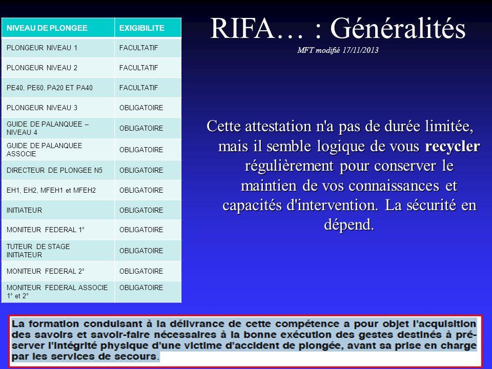 RIFA… : Équivalences Équivalences au PSC1: AFPS, BNS, BNPS, SST Équivalences au PSE1: mention ranimation, AFCPSAM, CFAPSE