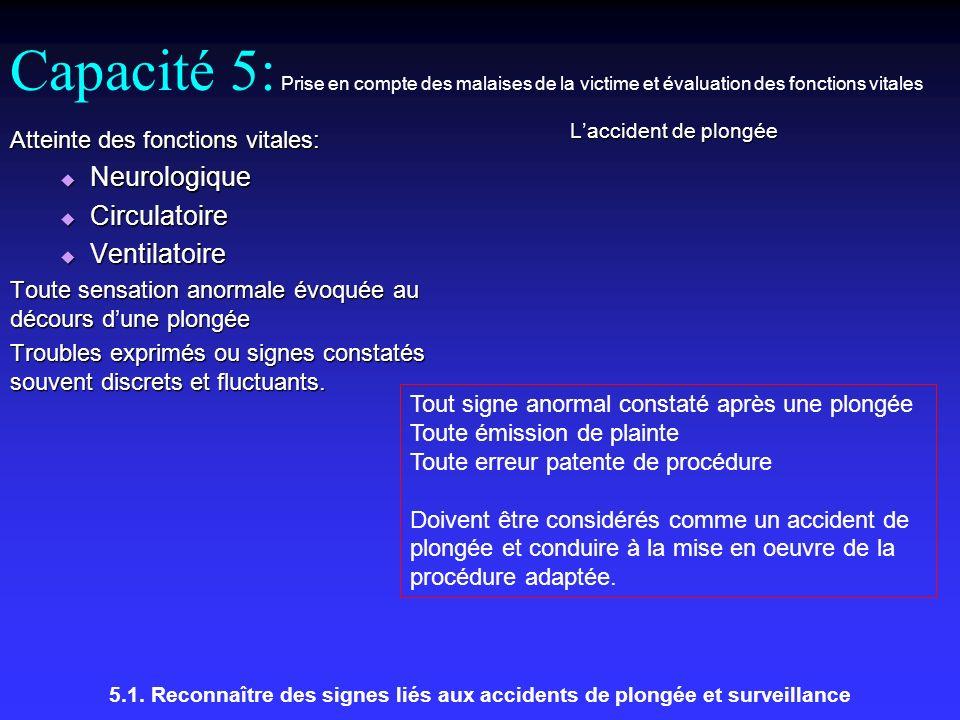Capacité 5: Prise en compte des malaises de la victime et évaluation des fonctions vitales Laccident de plongée 5.1.