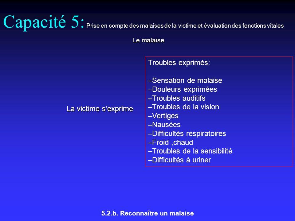 Capacité 5: Prise en compte des malaises de la victime et évaluation des fonctions vitales Le malaise 5.2.b.