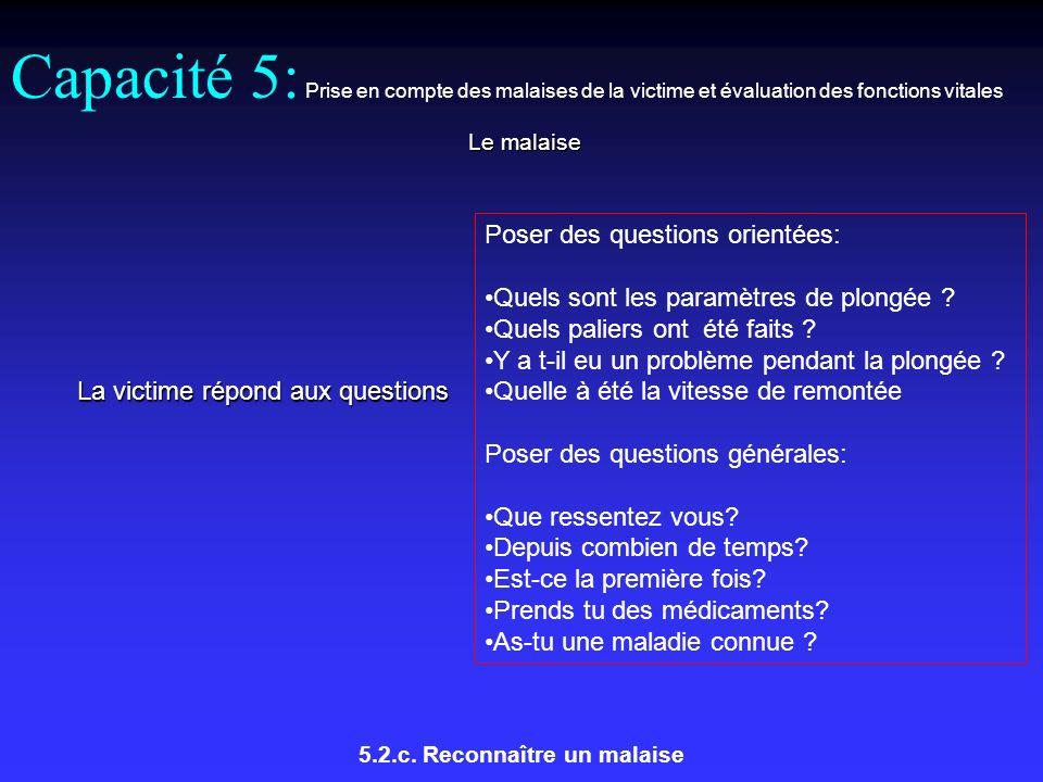 Capacité 5: Prise en compte des malaises de la victime et évaluation des fonctions vitales Le malaise 5.2.c.
