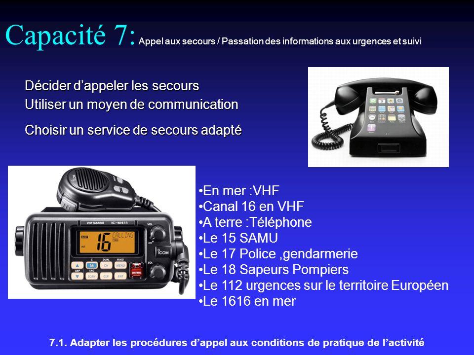 Capacité 7: Appel aux secours / Passation des informations aux urgences et suivi 7.1.