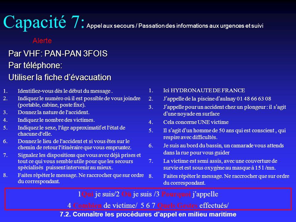 7.2. Connaître les procédures dappel en milieu maritime Par VHF: PAN-PAN 3FOIS Par téléphone: Utiliser la fiche dévacuation Alerte Capacité 7: Appel a