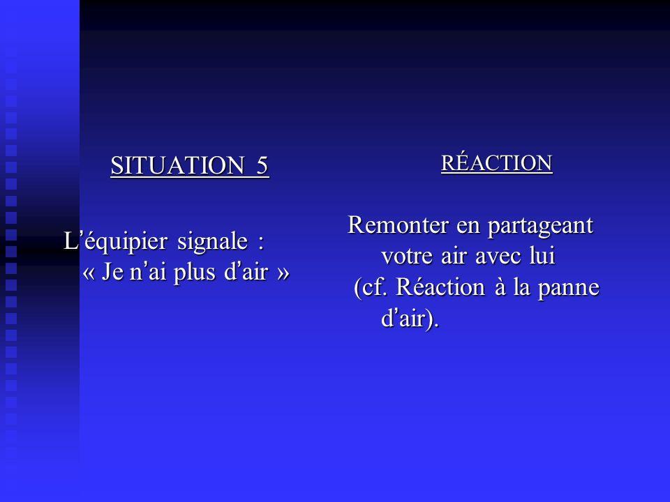 SITUATION 5 L équipier signale : « Je n ai plus d air » L équipier signale : « Je n ai plus d air » RÉACTION Remonter en partageant votre air avec lui (cf.