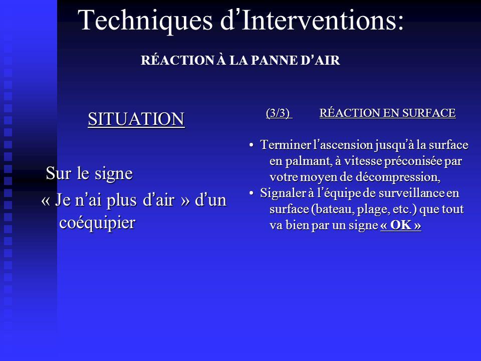 SITUATION Sur le signe Sur le signe « Je n ai plus d air » d un coéquipier (3/3) RÉACTION EN SURFACE Terminer l ascension jusqu à la surface en palmant, à vitesse préconisée par votre moyen de décompression, Signaler à l équipe de surveillance en surface (bateau, plage, etc.) que tout va bien par un signe « OK » Techniques d Interventions: RÉACTION À LA PANNE D AIR