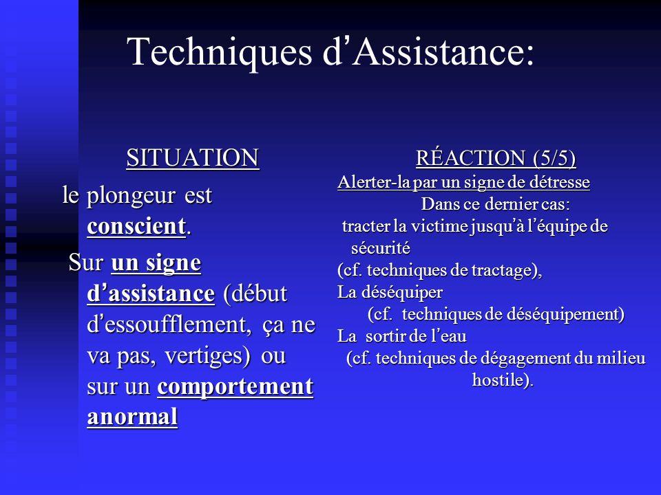RÉACTION (5/5) Alerter-la par un signe de détresse Dans ce dernier cas: tracter la victime jusqu à l équipe de sécurité (cf.
