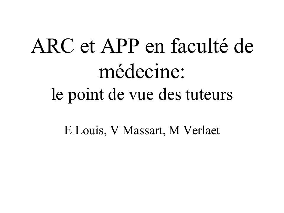 ARC et APP en faculté de médecine: le point de vue des tuteurs E Louis, V Massart, M Verlaet