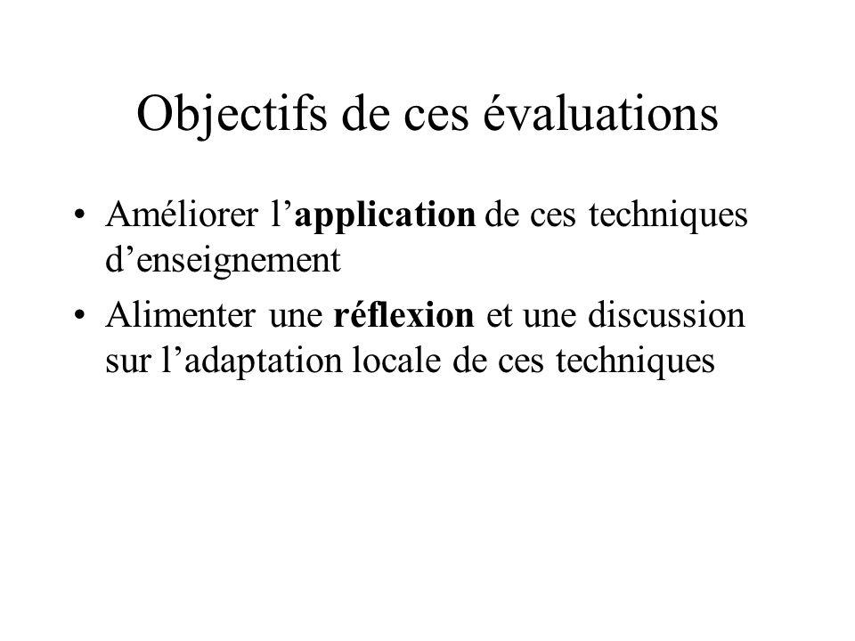 Objectifs de ces évaluations Améliorer lapplication de ces techniques denseignement Alimenter une réflexion et une discussion sur ladaptation locale d