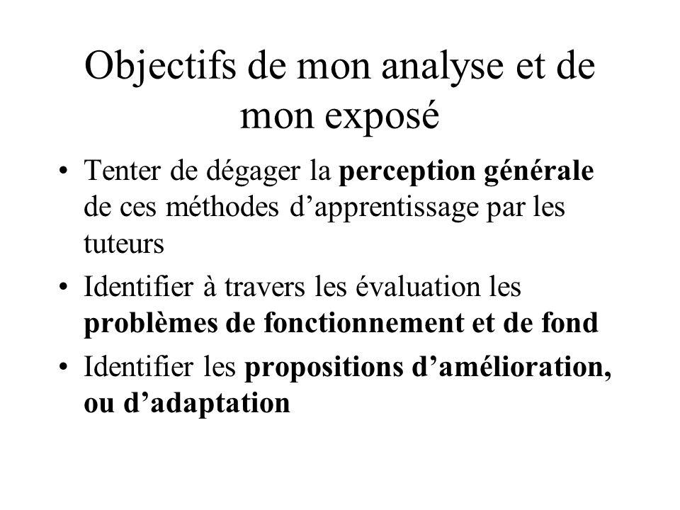 Objectifs de mon analyse et de mon exposé Tenter de dégager la perception générale de ces méthodes dapprentissage par les tuteurs Identifier à travers