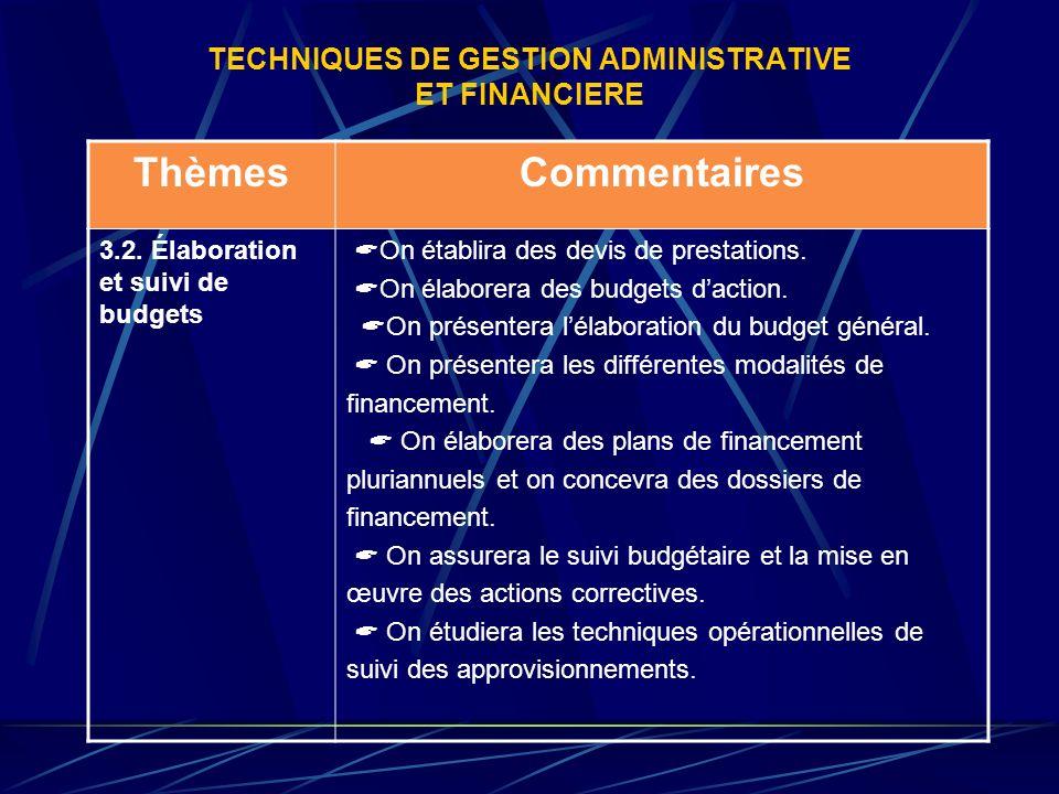 TECHNIQUES DE GESTION ADMINISTRATIVE ET FINANCIERE ThèmesCommentaires 3.2. Élaboration et suivi de budgets On établira des devis de prestations. On él