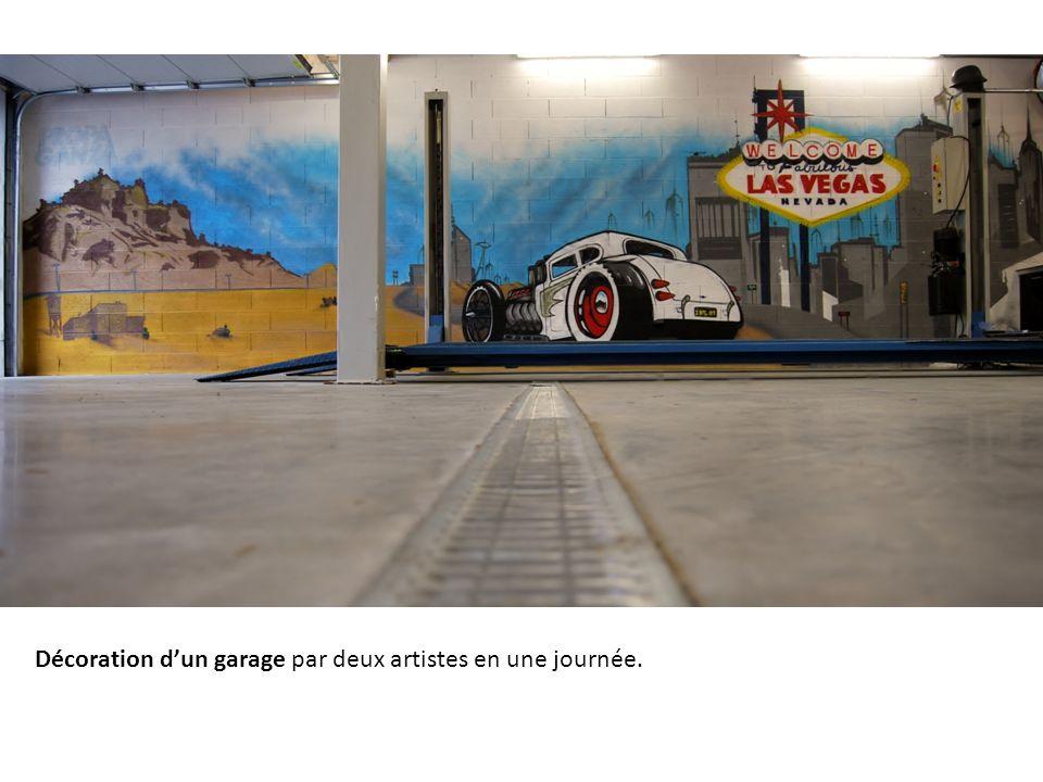 Décoration dun garage par deux artistes en une journée.
