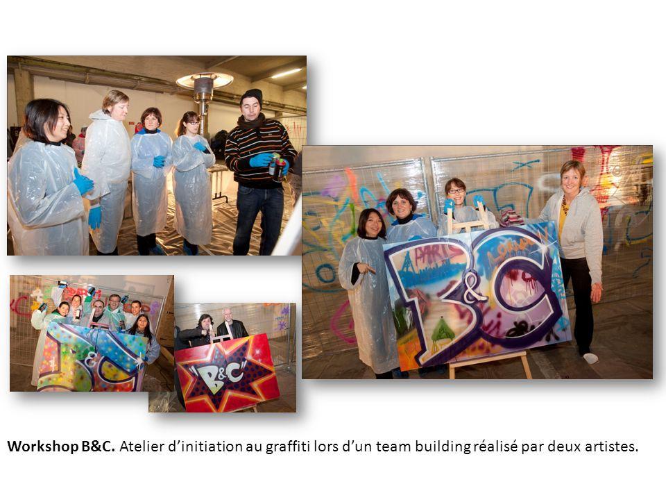 Workshop B&C. Atelier dinitiation au graffiti lors dun team building réalisé par deux artistes.