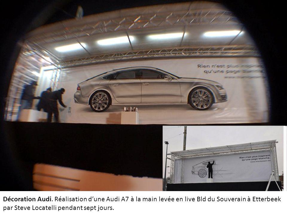 Décoration Audi. Réalisation dune Audi A7 à la main levée en live Bld du Souverain à Etterbeek par Steve Locatelli pendant sept jours.