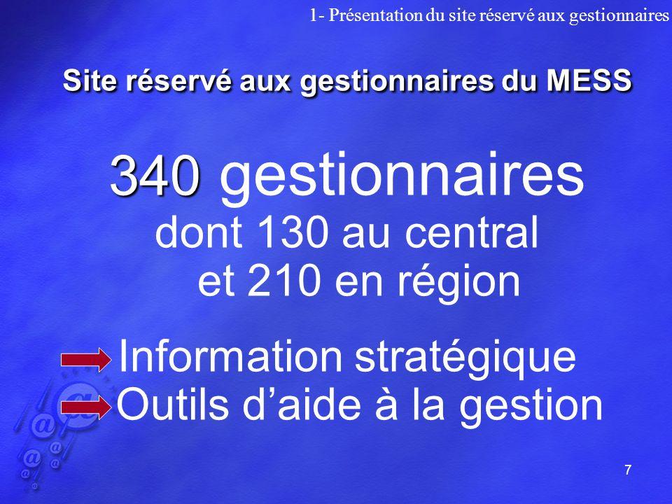 7 Site réservé aux gestionnaires du MESS 340 340 gestionnaires dont 130 au central et 210 en région Information stratégique Outils daide à la gestion 1- Présentation du site réservé aux gestionnaires