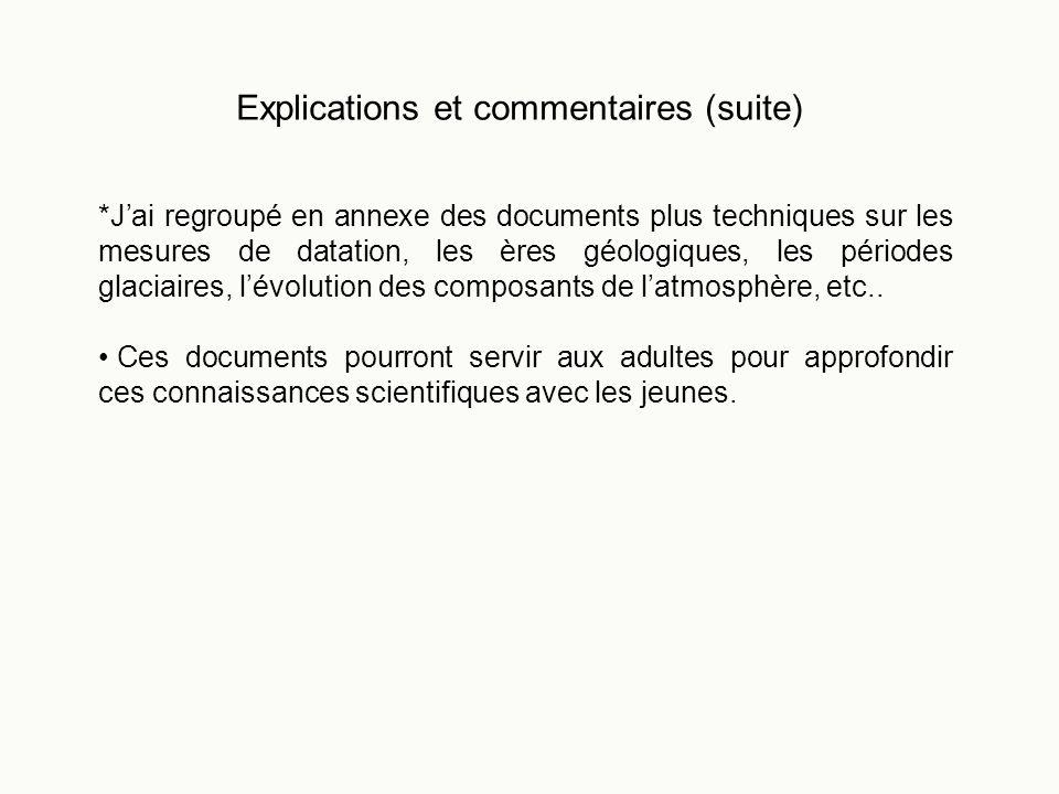 Explications et commentaires (suite) *Jai regroupé en annexe des documents plus techniques sur les mesures de datation, les ères géologiques, les péri