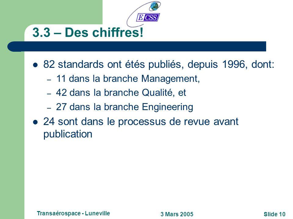 Slide 93 Mars 2005 Transaérospace - Luneville 3.2 – Trois niveaux de standards ECSS! Niveau 1 Documents établissant la stratégie spécifique à chaque b