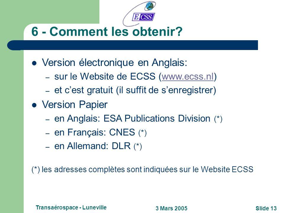 Slide 123 Mars 2005 Transaérospace - Luneville 5 - Qui les utilise? Des exemples! Existence dune directive ESA qui rend obligatoire lutilisation des s