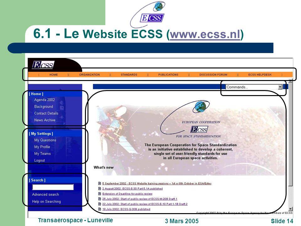 Slide 133 Mars 2005 Transaérospace - Luneville 6 - Comment les obtenir? Version électronique en Anglais: – sur le Website de ECSS (www.ecss.nl)www.ecs