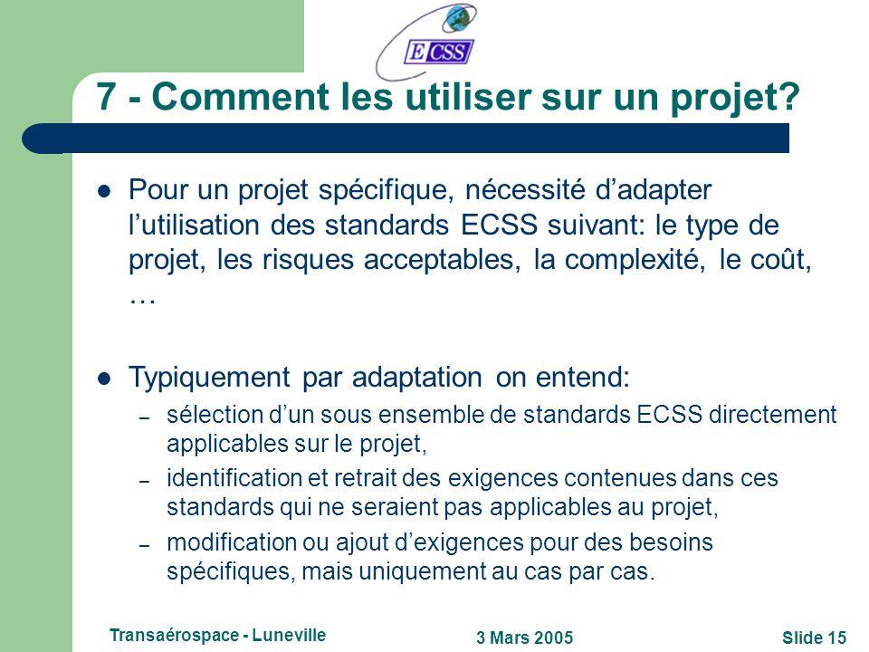Slide 143 Mars 2005 Transaérospace - Luneville 6.1 - Le Website ECSS (www.ecss.nl)www.ecss.nl