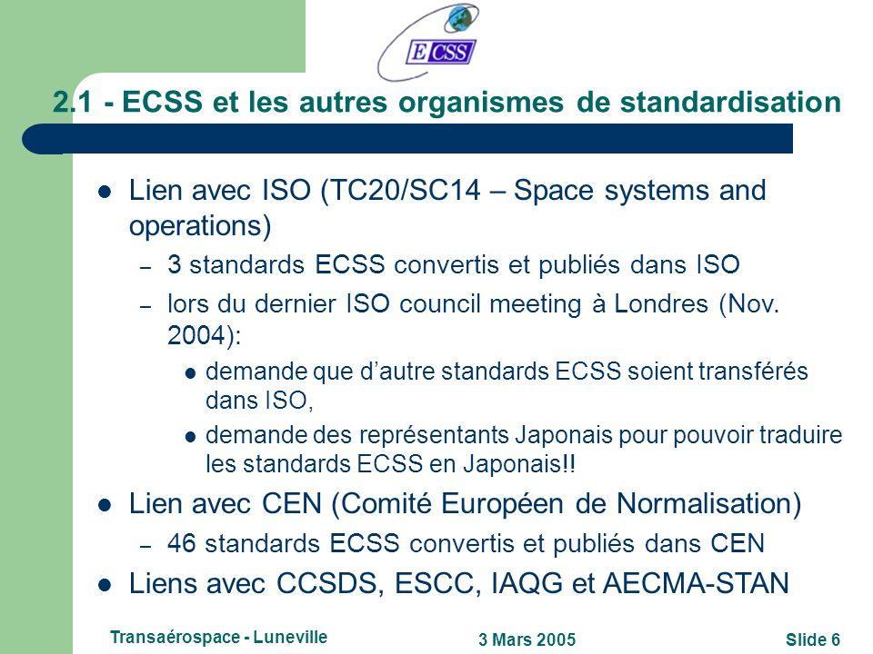 Slide 53 Mars 2005 Transaérospace - Luneville 2 - Qu'est ce que ECSS exactement? Entreprise conjointe entre différents partenaires, qui sont: lESA, le
