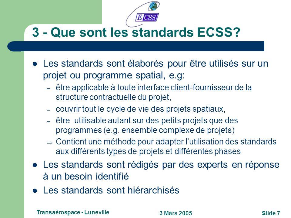 Slide 63 Mars 2005 Transaérospace - Luneville 2.1 - ECSS et les autres organismes de standardisation Lien avec ISO (TC20/SC14 – Space systems and oper