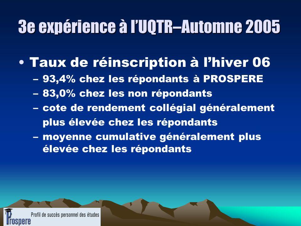 3e expérience à lUQTR–Automne 2005 Taux de réinscription à lhiver 06 –93,4% chez les répondants à PROSPERE –83,0% chez les non répondants –cote de ren