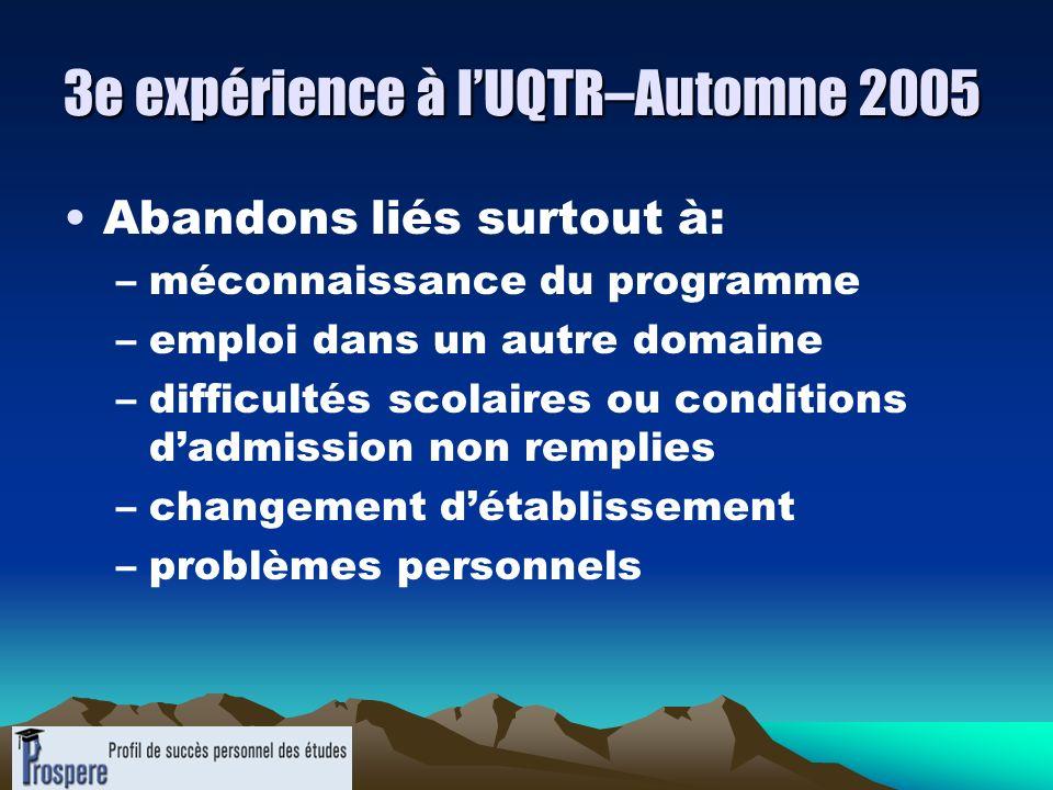 3e expérience à lUQTR–Automne 2005 Abandons liés surtout à: –méconnaissance du programme –emploi dans un autre domaine –difficultés scolaires ou condi