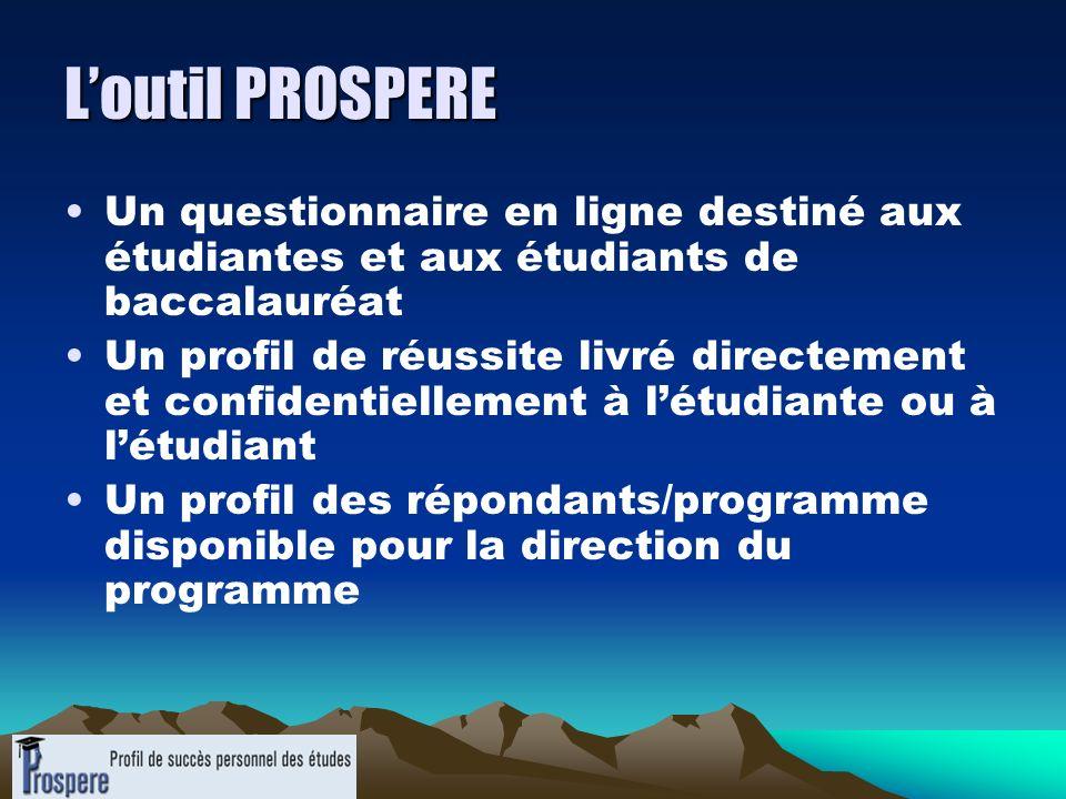 Loutil PROSPERE Un questionnaire en ligne destiné aux étudiantes et aux étudiants de baccalauréat Un profil de réussite livré directement et confident