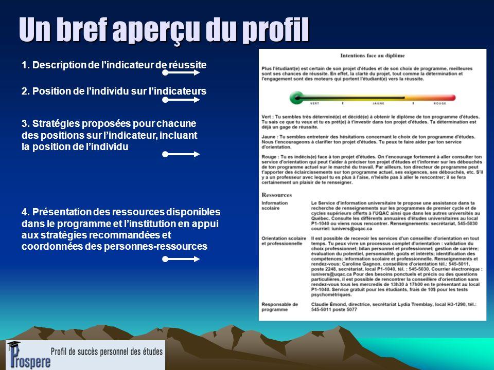 Un bref aperçu du profil 1. Description de lindicateur de réussite 2. Position de lindividu sur lindicateurs 3. Stratégies proposées pour chacune des