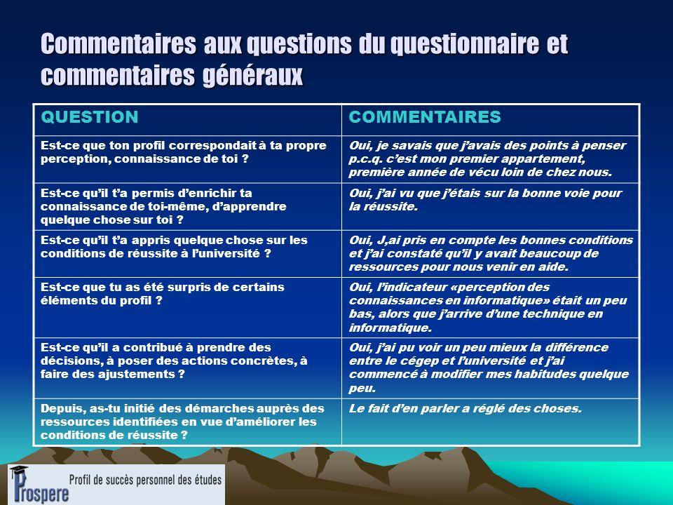 Commentaires aux questions du questionnaire et commentaires généraux QUESTIONCOMMENTAIRES Est-ce que ton profil correspondait à ta propre perception,