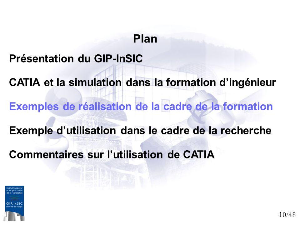 10/48 Plan Présentation du GIP-InSIC CATIA et la simulation dans la formation dingénieur Exemples de réalisation de la cadre de la formation Exemple d