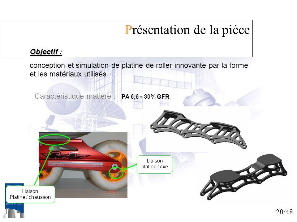 20/48 Présentation de la pièce Objectif : conception et simulation de platine de roller innovante par la forme et les matériaux utilisés Caractéristiq