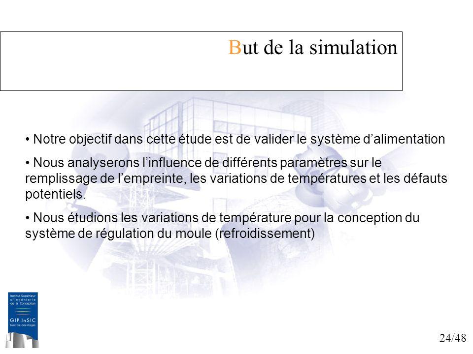 24/48 But de la simulation Notre objectif dans cette étude est de valider le système dalimentation Nous analyserons linfluence de différents paramètre