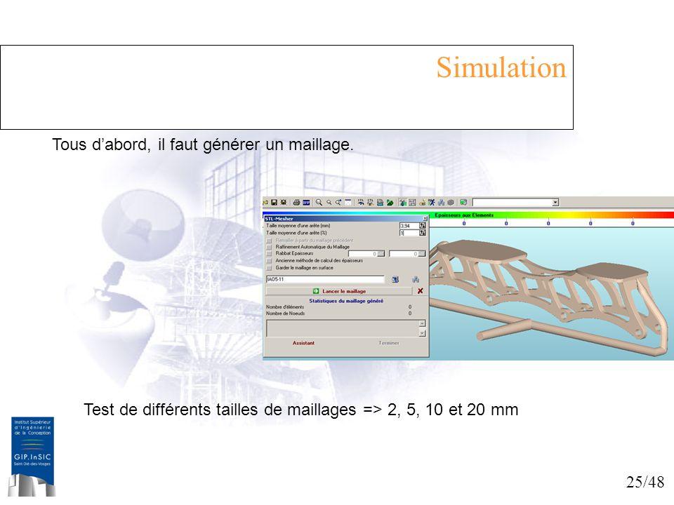 25/48 Simulation Tous dabord, il faut générer un maillage. Test de différents tailles de maillages => 2, 5, 10 et 20 mm