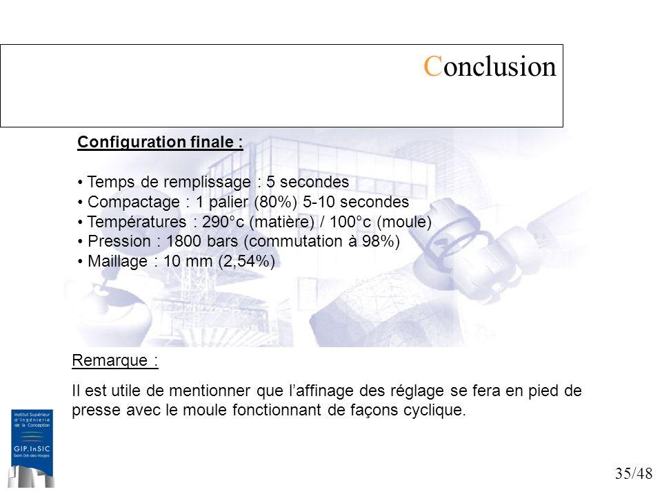 35/48 Conclusion Configuration finale : Temps de remplissage : 5 secondes Compactage : 1 palier (80%) 5-10 secondes Températures : 290°c (matière) / 1