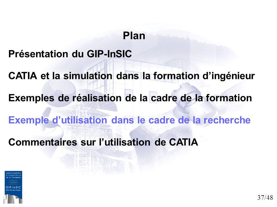 37/48 Plan Présentation du GIP-InSIC CATIA et la simulation dans la formation dingénieur Exemples de réalisation de la cadre de la formation Exemple d