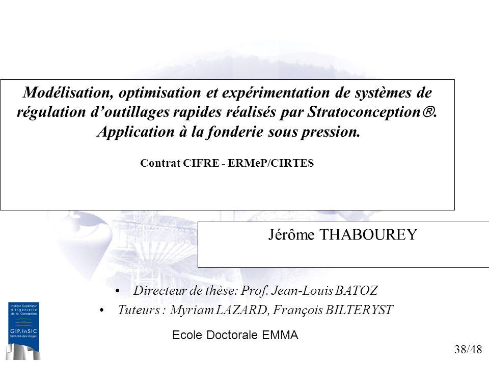 38/48 Modélisation, optimisation et expérimentation de systèmes de régulation doutillages rapides réalisés par Stratoconception. Application à la fond