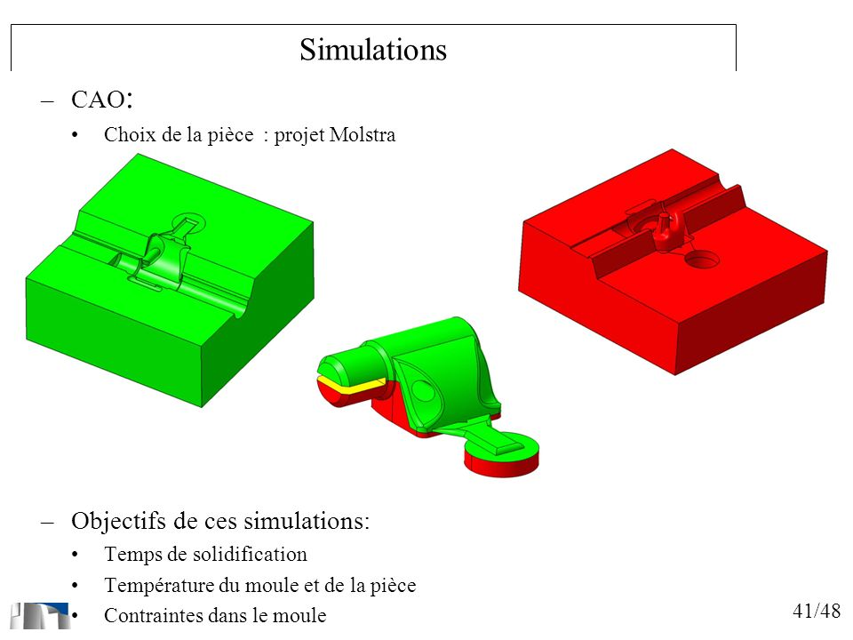 41/48 Simulations –CAO : Choix de la pièce : projet Molstra –Objectifs de ces simulations: Temps de solidification Température du moule et de la pièce