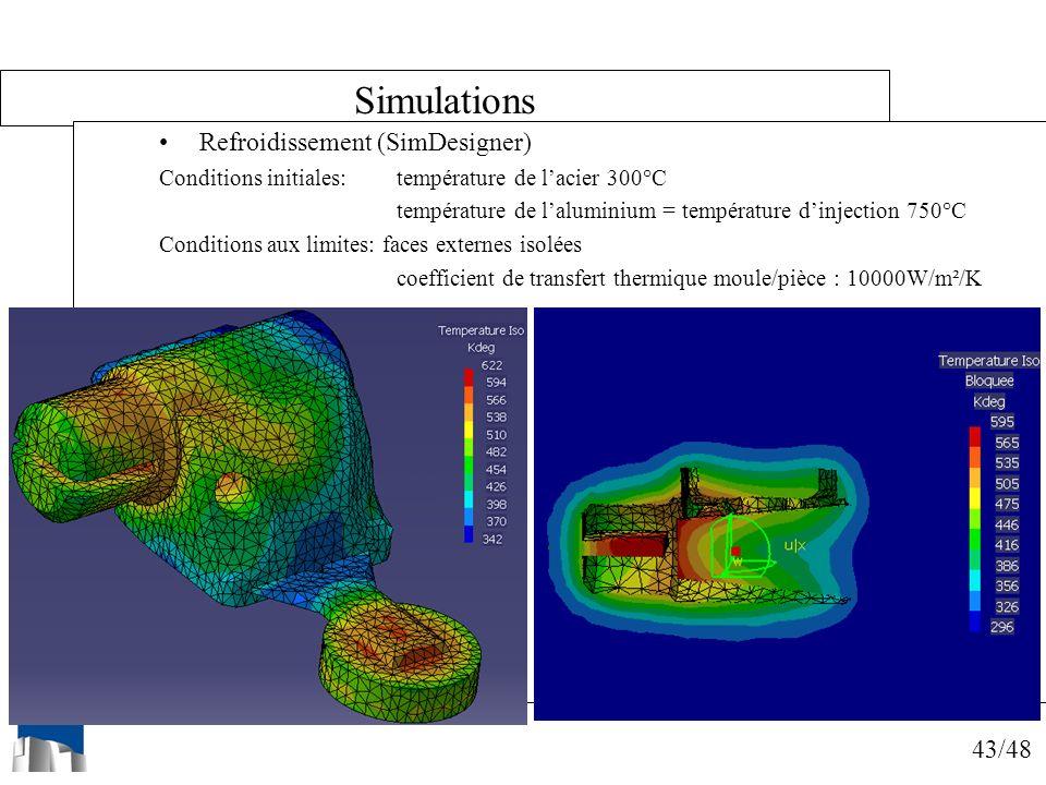 43/48 Simulations Refroidissement (SimDesigner) Conditions initiales: température de lacier 300°C température de laluminium = température dinjection 7