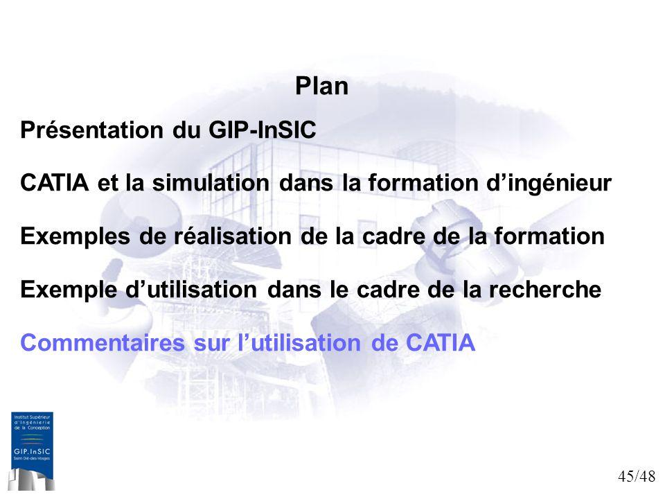 45/48 Plan Présentation du GIP-InSIC CATIA et la simulation dans la formation dingénieur Exemples de réalisation de la cadre de la formation Exemple d