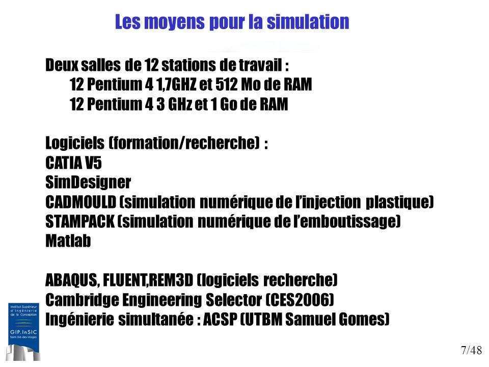 7/48 Les moyens pour la simulation Deux salles de 12 stations de travail : 12 Pentium 4 1,7GHZ et 512 Mo de RAM 12 Pentium 4 3 GHz et 1 Go de RAM Logi