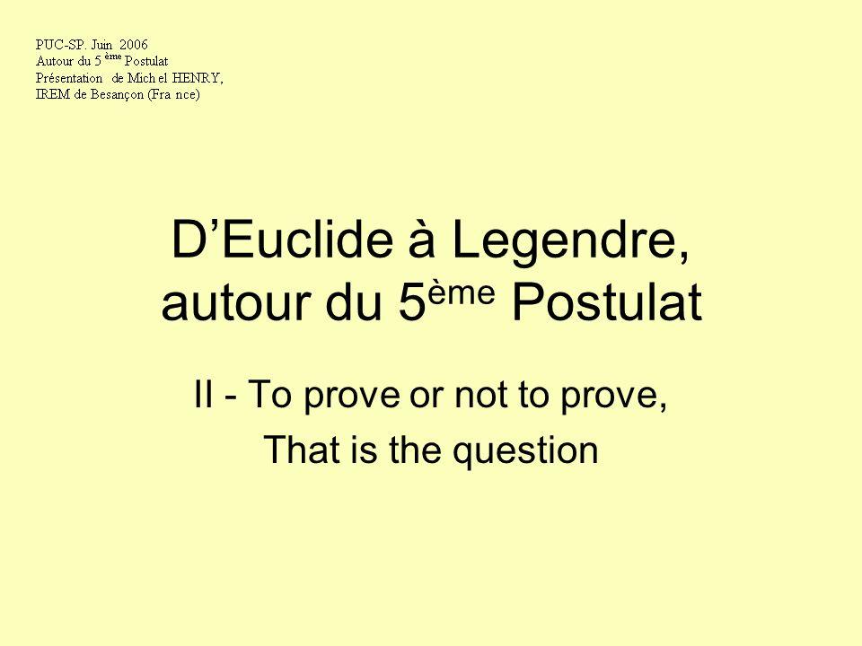 DEuclide à Legendre, autour du 5 ème Postulat II - To prove or not to prove, That is the question