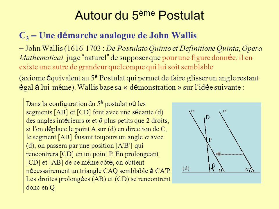 Autour du 5 ème Postulat C 3 – Une d é marche analogue de John Wallis – John Wallis (1616-1703 : De Postulato Quinto et Definitione Quinta, Opera Mathematica), juge naturel de supposer que pour une figure donn é e, il en existe une autre de grandeur quelconque qui lui soit semblable (axiome é quivalent au 5 è Postulat qui permet de faire glisser un angle restant é gal à lui-même).