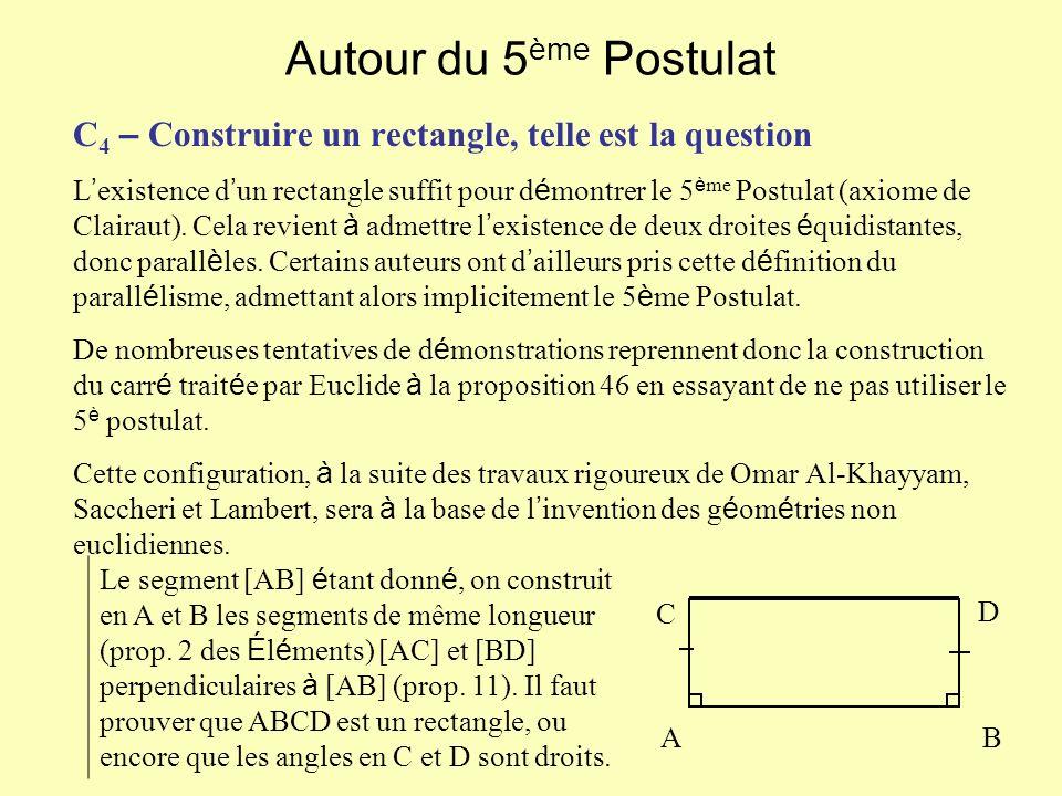 Autour du 5 ème Postulat C 4 – Construire un rectangle, telle est la question L existence d un rectangle suffit pour d é montrer le 5 è me Postulat (axiome de Clairaut).