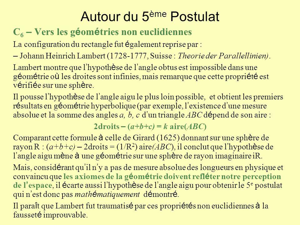 Autour du 5 ème Postulat C 6 – Vers les g é om é tries non euclidiennes La configuration du rectangle fut é galement reprise par : – Johann Heinrich Lambert (1728-1777, Suisse : Theorie der Parallellinien).