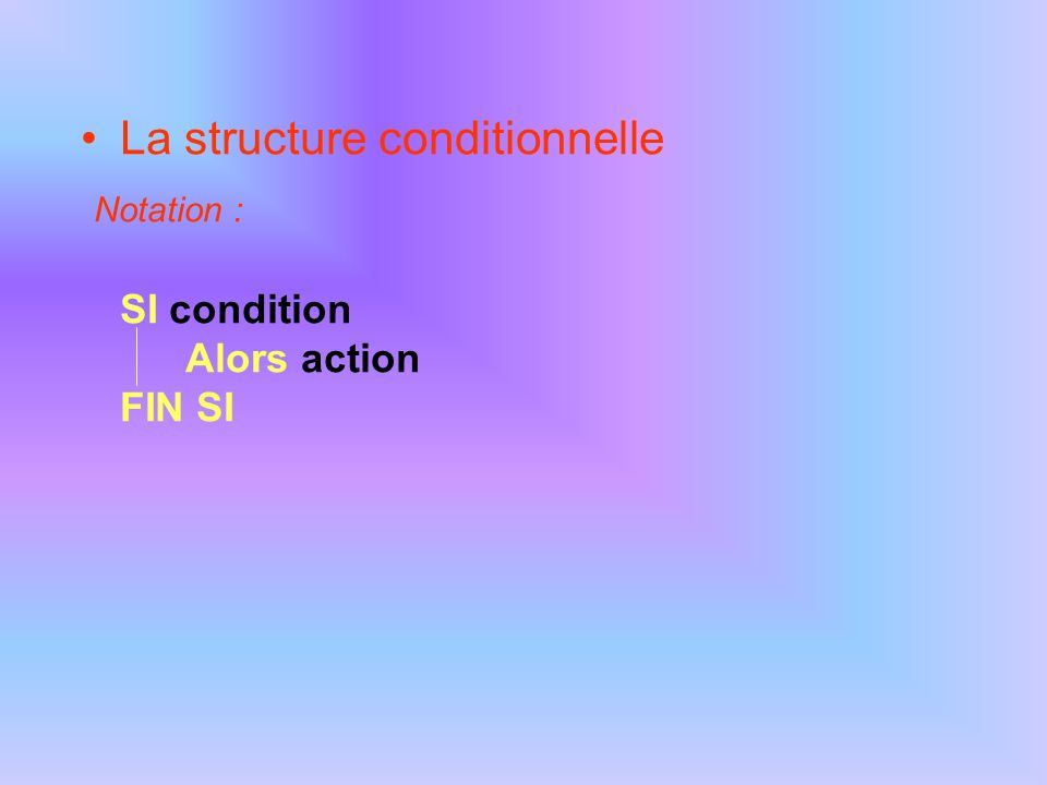 La structure conditionnelle Notation : SI condition Alors action FIN SI