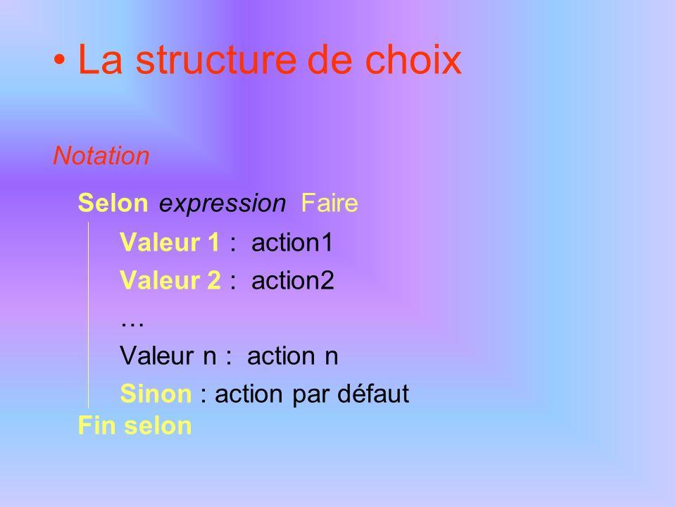 La structure de choix Notation Selon expression Faire Valeur 1 : action1 Valeur 2 : action2 … Valeur n : action n Sinon : action par défaut Fin selon