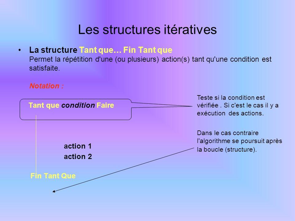 La structure Tant que… Fin Tant que Permet la répétition d'une (ou plusieurs) action(s) tant qu'une condition est satisfaite. Notation : Tant que cond