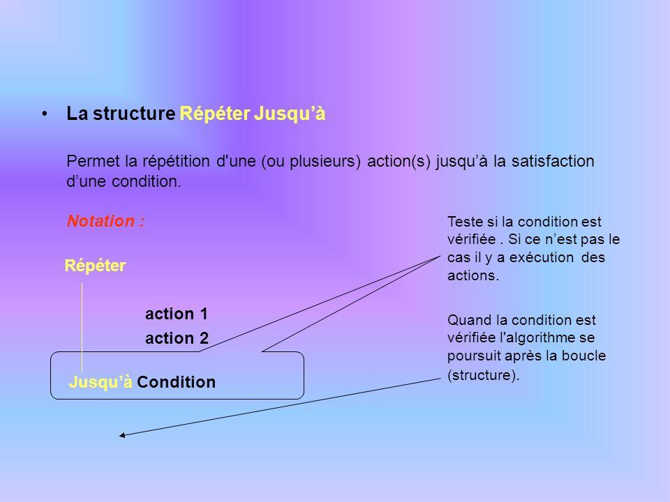 La structure Répéter Jusquà Permet la répétition d'une (ou plusieurs) action(s) jusquà la satisfaction dune condition. Notation : Répéter action 1 act